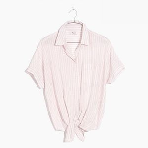 Madewell Pink Stripe Short-Sleeve Tie-Front Shirt